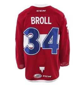 Club De Hockey 2017-2018 #34 DAVID BROLL RED GAME-USED JERSEY (SIGNED)