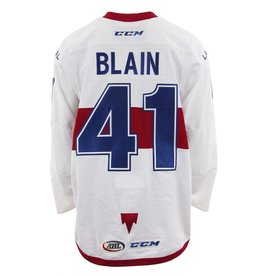 Club De Hockey 2017-2018 #41 LUC-OLIVIER BLAIN WHITE GAME-USED JERSEY