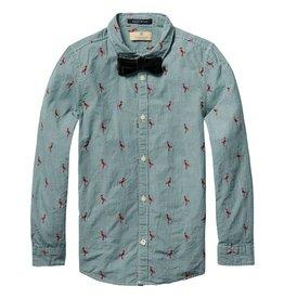 Scotch Shrunk Scotch Shrunk Dress Shirt with flamingo detail & bow tie