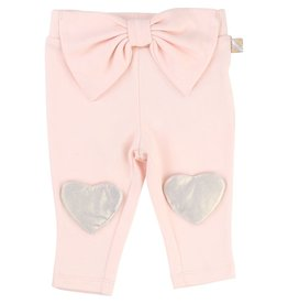 Billie Blush Billie Blush Jersey trousers,  bow detail & glitter patch at knee.