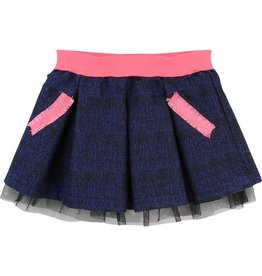 Billie Blush Billie Blush Jaquard skirt, 3 pleats on the front and back