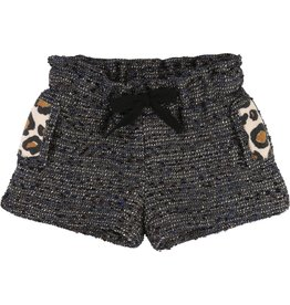 Little Marc Jacobs Little Marc Jacobs jacquard lurex shorts, cinched waist, leopard print detail