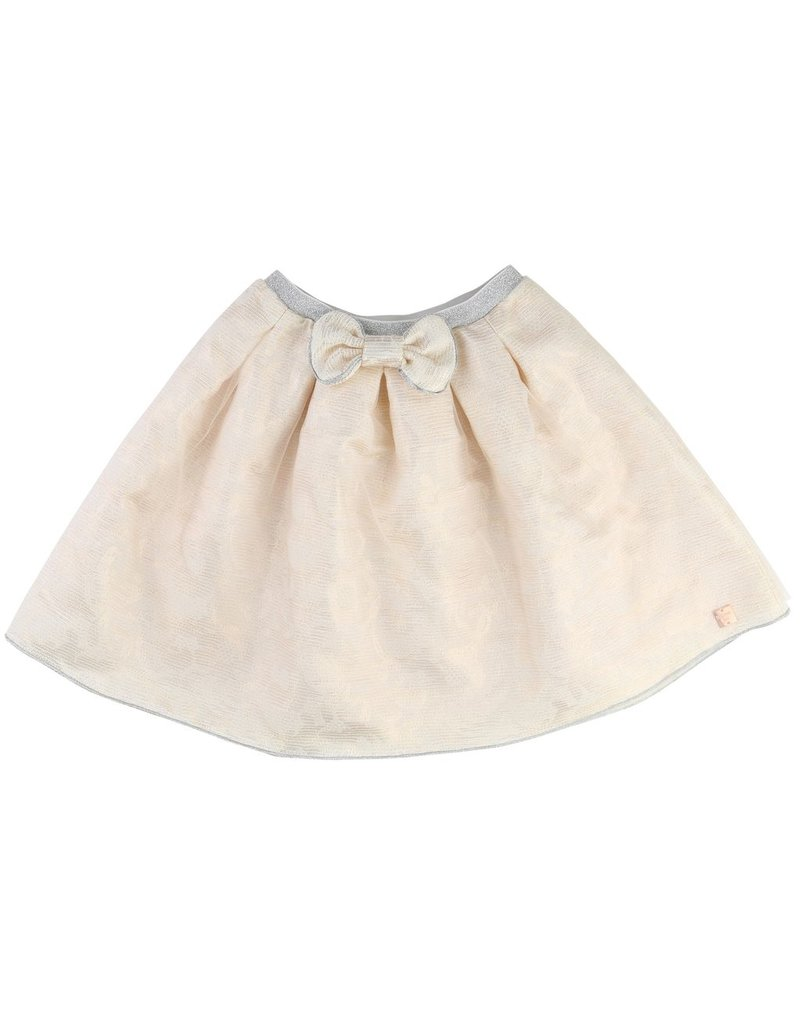 Carrement Beau Carrement Beau Lurex jacquard skirt, bow at waist.