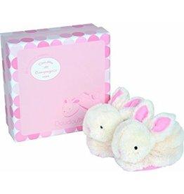Doudou et Compagnie Doudou et Compagnie Gift Box Booties + Rattle