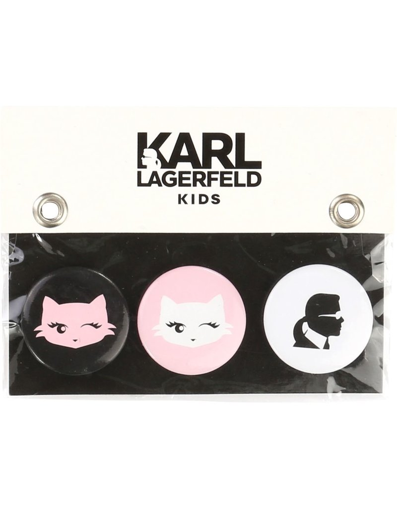 Karl Lagerfeld Kids Karl Lagerfeld Set of 3 metal badges with Karl and Choupette patterns.