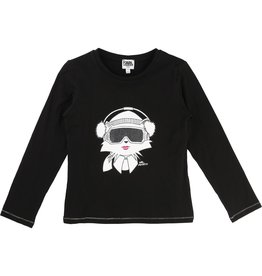 Karl Lagerfeld Kids Karl Lagerfeld  Jersey T shirt with lurex details and Choupette printed pattern with glitter.