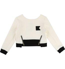 Karl Lagerfeld Kids Karl Lagerfeld Fancy fleece sweatshirt with contrasting rib, golden zips and Karl K patch.