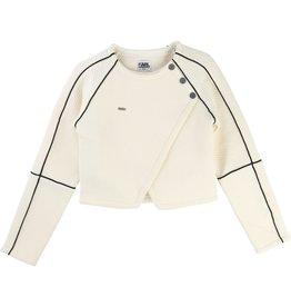 Karl Lagerfeld Kids Karl Lagerfeld Quilted fleece cardigan with panels, biker shape