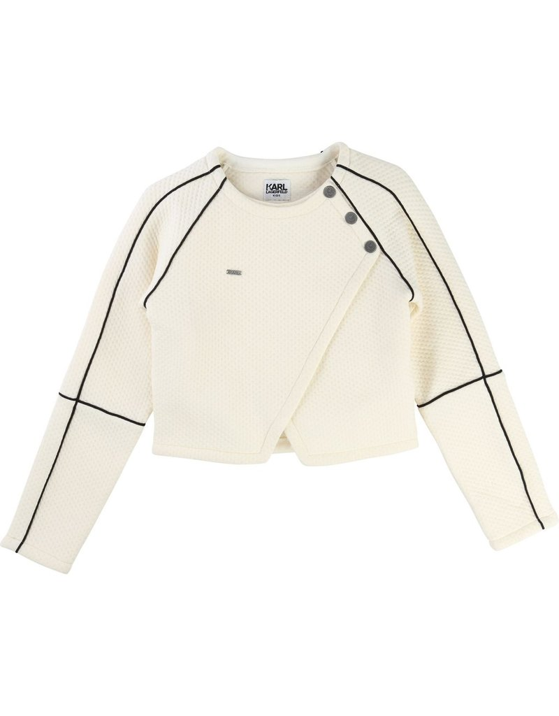 Karl Lagerfeld Kids Karl Lagerfeld Quilted fleece cardigan with panels, biker shape