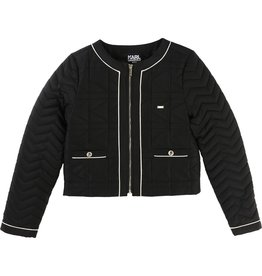 Karl Lagerfeld Kids Karl Lagerfeld KL quilted jacket with Kameo allover lining and Karl metal plate.