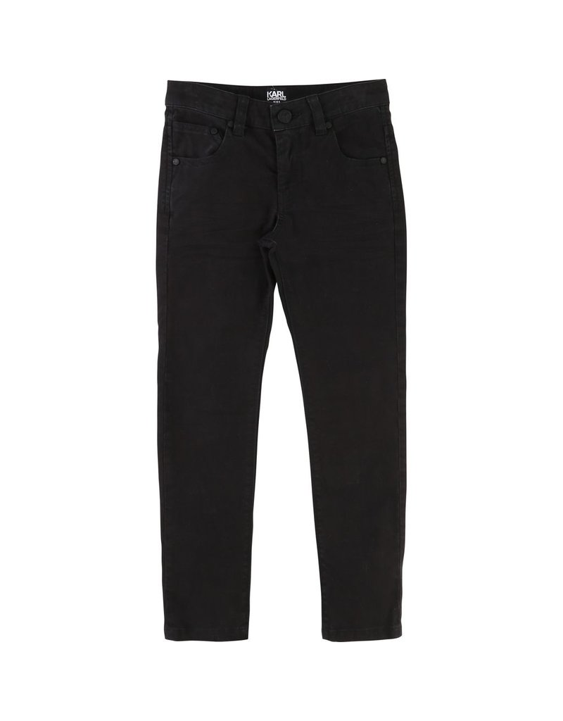 Karl Lagerfeld Kids Karl Lagerfeld Slim 5 pockets twill pants with rubber label with logo