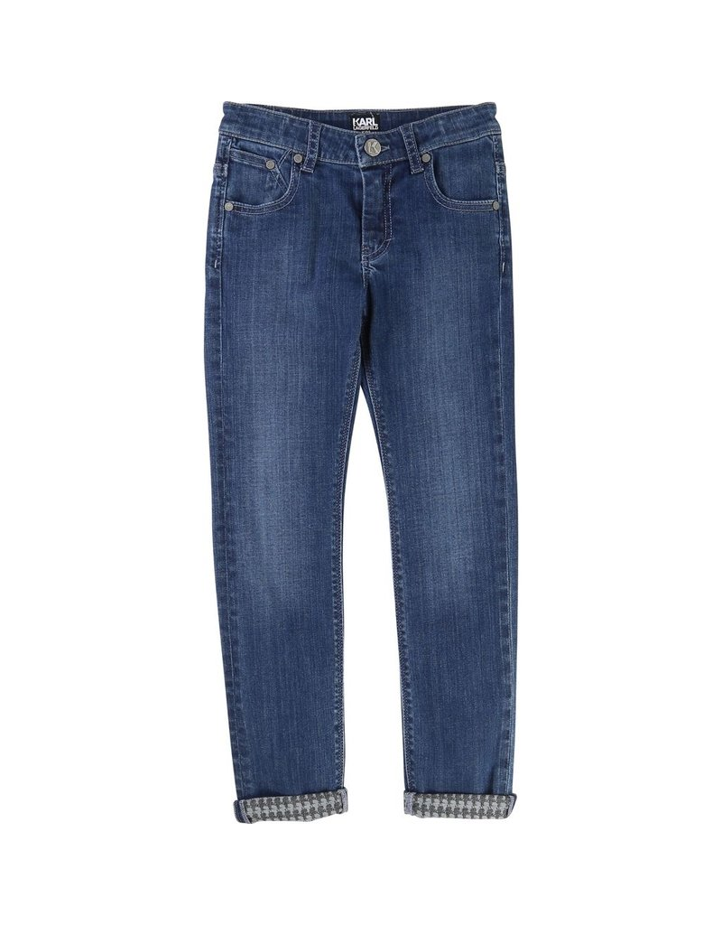 Karl Lagerfeld Kids Karl Lagerfeld Denim slim pants with Kameo allover inside and rubber label with logo