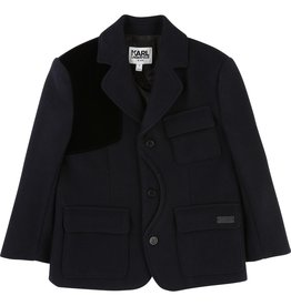 Karl Lagerfeld Kids Karl Lagerfeld Wool broadcloth suit jacket with imitation suede elbow and shoulder patches