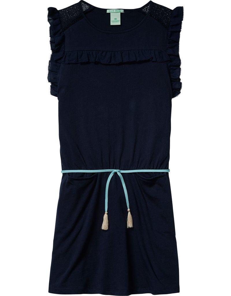 Scotch Rbelle Scotch Rbelle Mesh trimmed dress with woven