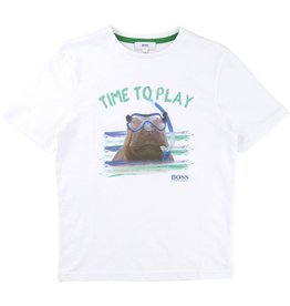 Hugo Boss Hugo Boss Slubbed  cotton jersey tee shirt + digital print.