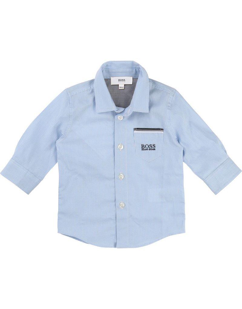 Hugo Boss Hugo Boss Gingham cotton poplin shirt, pocket details