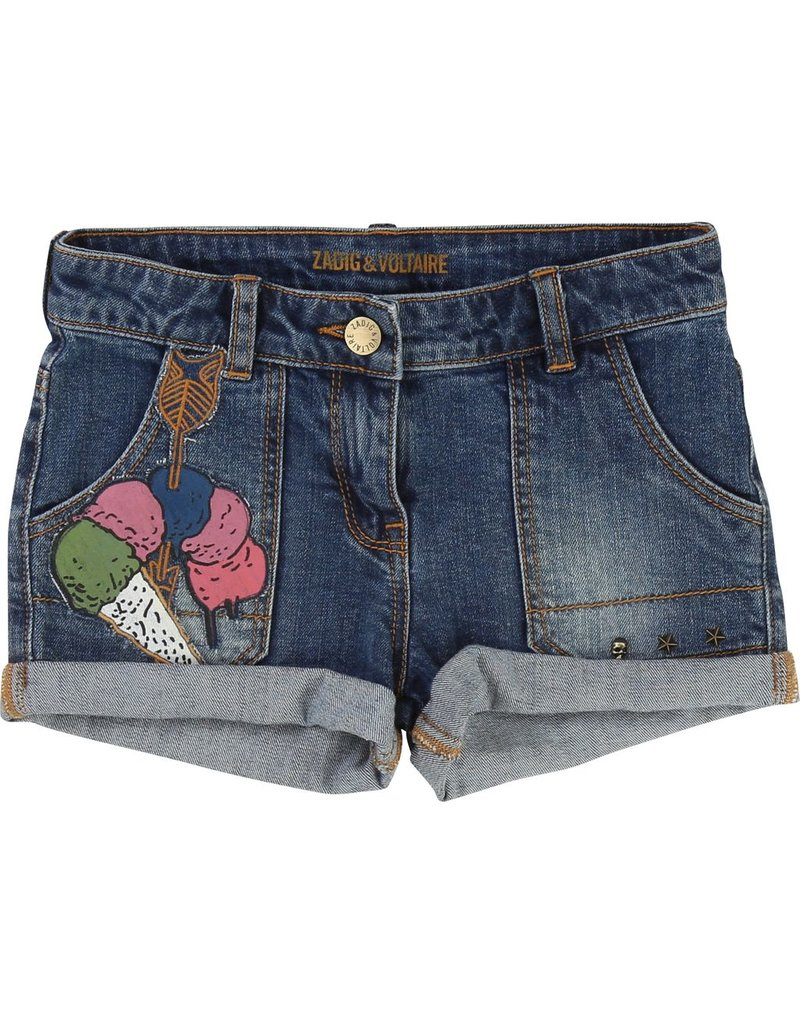 Zadig and Voltaire Zadig and Voltaire Denim shorts, embroidery on the front
