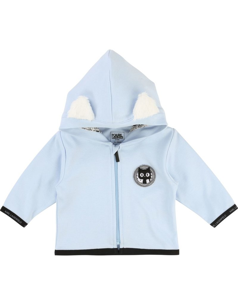 Karl Lagerfeld Kids Karl Lagerfeld Interlock hooded cardigan with Choupette ears