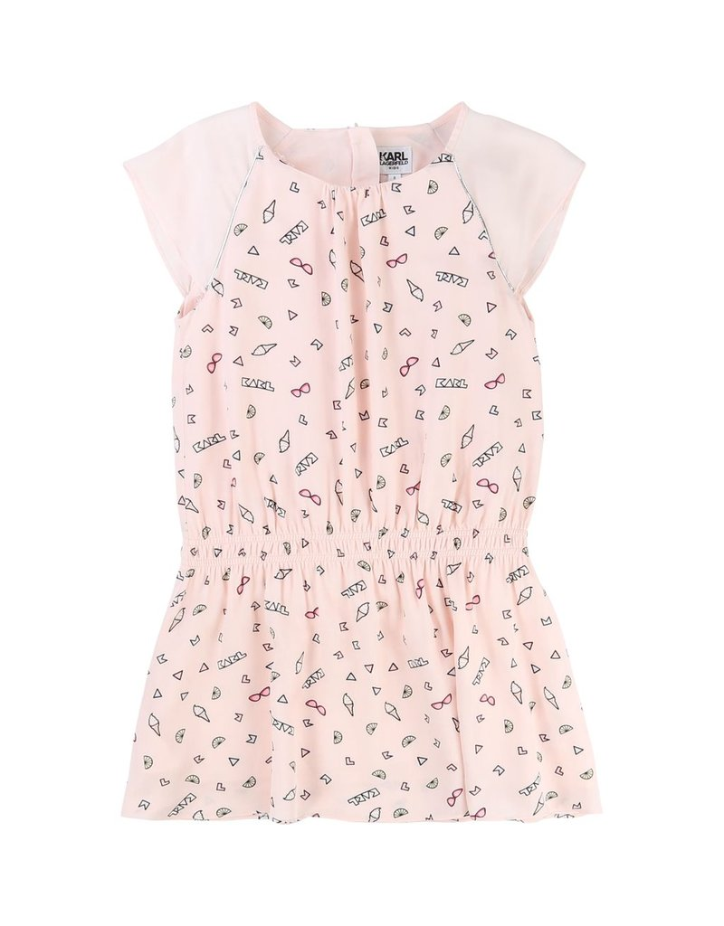 Karl Lagerfeld Kids Karl Lagerfeld Viscose dress with allover printed pattern