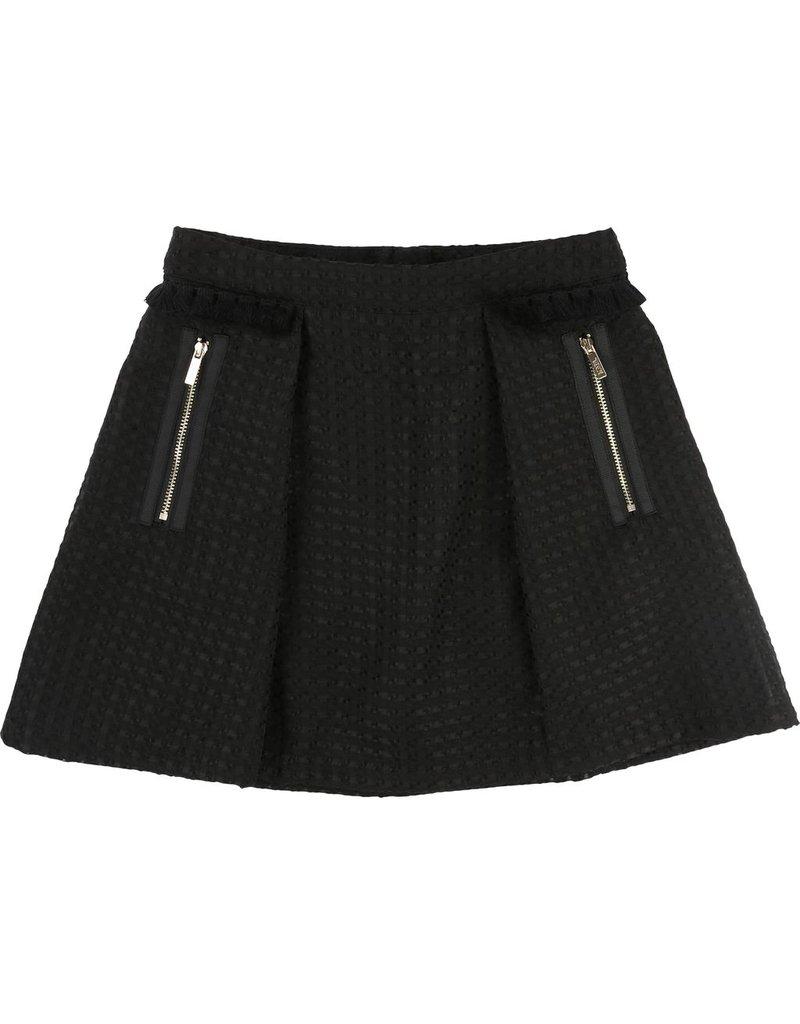 Karl Lagerfeld Kids Karl Lagerfeld Geometric fabric skirt with black pompoms detail