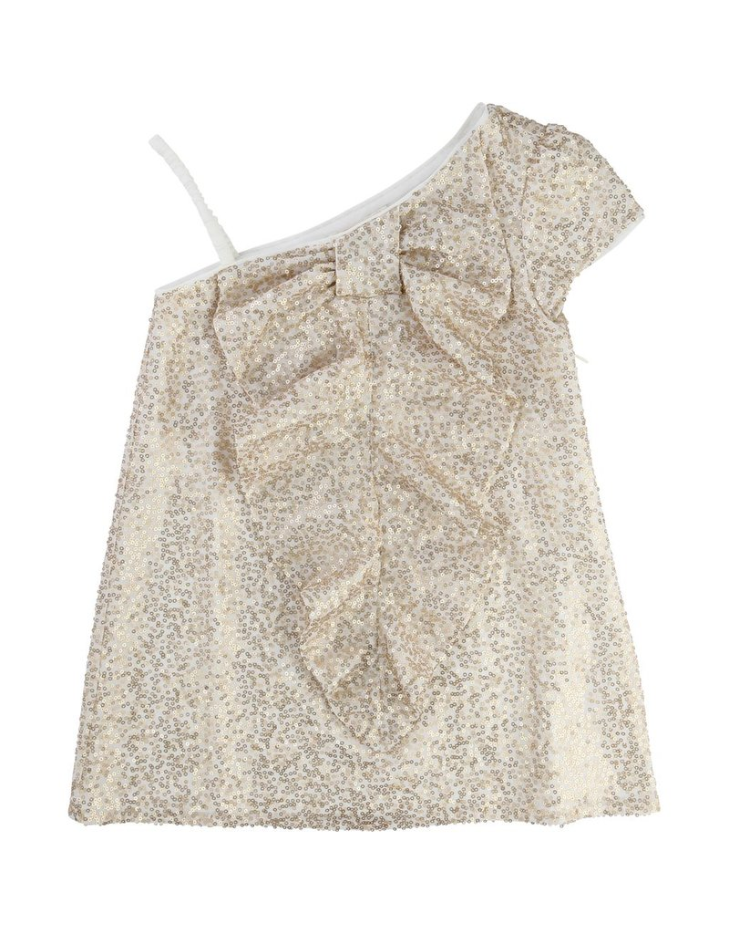 Billie Blush Billie Blush Sequin dress, short sleeves, invisible zip closure on back, fancy bow on the front. Sold with loose cover.