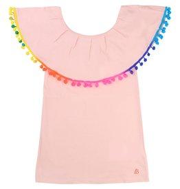 Billie Blush Billie Blush Jersey Dress, ruffles at the neckline, pompom detail