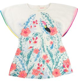 Billie Blush Billie Blush Crepe Dress, short sleeves, pompom on sleeves, print detail