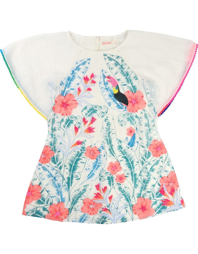 Billie Blush Billie Blush Crepe Dress, short sleeves, pompom on sleeves, print detail