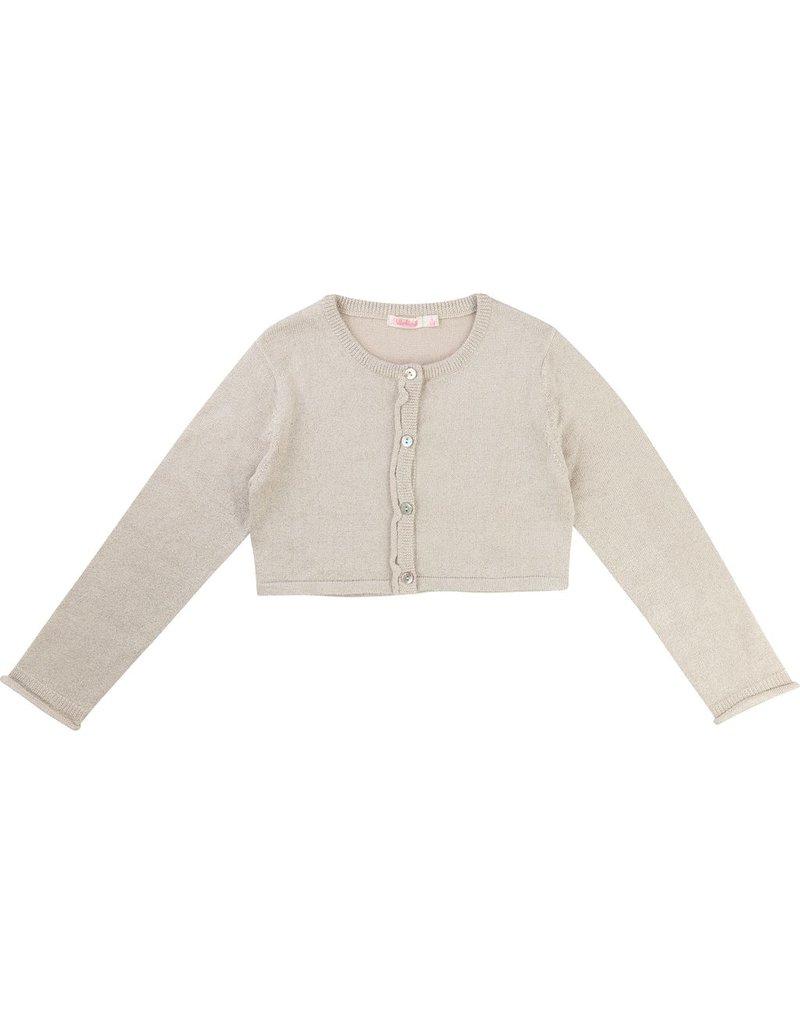 Billie Blush Billie Blush Lurex knitted Cropped Cardigan, long sleeves, button front closure.