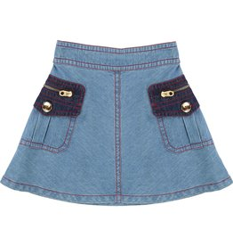 Little Marc Jacobs Little Marc Jacobs Denim Skirt, trapeze, patch pockets, mini-me.