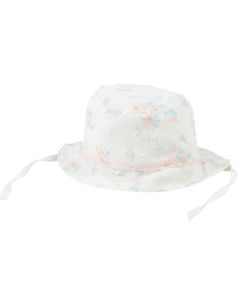 Carrement Beau Carrement Beau Cotton plumetis Hat, piping, string on sides, floral pattern.
