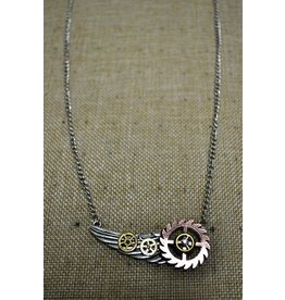 Wing Steampunk Necklace w/ Gears