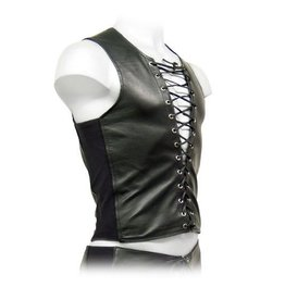 Lace Front Leather Tank Top