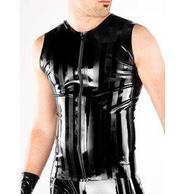 Striped Latex Sleeveless Zip Shirt