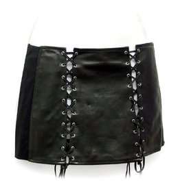 Lambskin Leather Lace Up Skirt