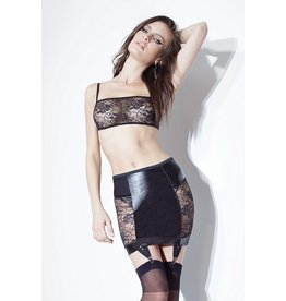 Wetlook Skirt W/Lace Panels
