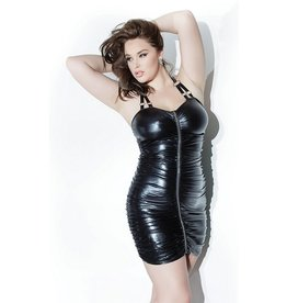 Gathered Wetlook Dress