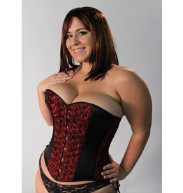 Rose Taffeta Corset Black / Red
