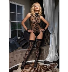 2Pc. Swirl Motif Bodysuit W/ Snap And Matching Stocking Set O/S BLACK