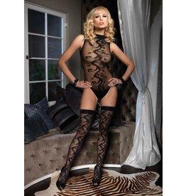 2Pc. Swirl Motif Bodysuit W/ Snap And Matching Stocking Set O/S BLACK