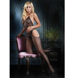 Seamless Fishnet Halter Suspender Bodystockings O/S BLACK