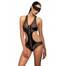 2pc Lace Up Fishnet Teddy w/Net Mask