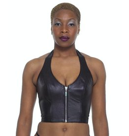 Leather Halter Crop Top w/Zipper
