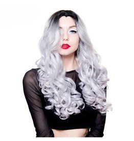 Curly Dark Roots Lace Front Wig