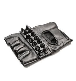 Leather Fingerless Gloves w/ Cone Studs