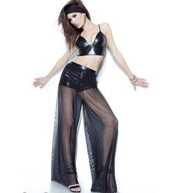 Mesh & Wetlook Long Pants