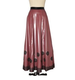 Latex Lace Trimmed Maxi Skirt