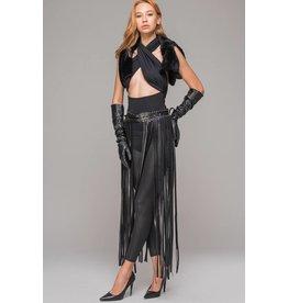 Long Leatherette Belt Skirt