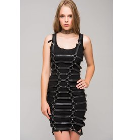 Leatherette Body Belt Dress