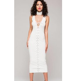 Sleeveless Knit Sheath Dress w/ Laces
